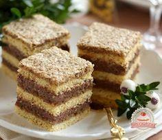 Dióhabos csokoládékrémes kocka Hungarian Desserts, Hungarian Recipes, Torte Cake, Cake Bars, Russian Cakes, Sweet Cookies, Cookie Recipes, Food And Drink, Sweets