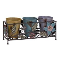 This set of three flower pots is perfect for growing herbs while allowing you to separate the pots for cultivating. Each galvanized pot is adorned with flower details and fits into a rectangular iron Metal Planters, Planter Pots, Buy Metal, Beyond The Rack, Garden Shop, Growing Herbs, Potted Plants, Flower Pots, Purple