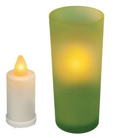 Inglow CG10060GN Flameless Frosted Glass 5-Inch Tall Holder with Votive Candle, Green by Inglow. $7.24. From the Manufacturer                This Inglow Frosted Glass Holder comes with a three inch plastic votive and can be used anywhere in the home even where you wouldn't use a burning candle. The unscented votive comes with an exposed bulb design. Glows and flickers like a real candle, creating authentic candlelight effects. Flameless candles avoid the mess an...