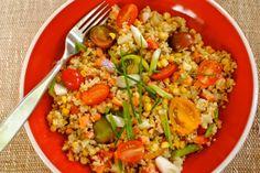 tomato & skillet corn quinoa salad