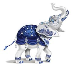 35098b284ab Sparkling Blue Willow Hand-Painted Elephant Figurine Adorned With Swarovski  Crystals