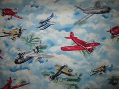 VINTAGE PLANE AIRPLANES FIGHTER PLANES BLUE SKY COTTON FABRIC FQ #QuiltingTreasures