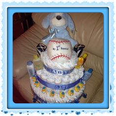 Diaper cake for baby shower! It's a boy! Creative gift ideas for friends, family and self. Easy to make, very time consuming and costs as much as you want to invest. I spent almost $70 on this one...