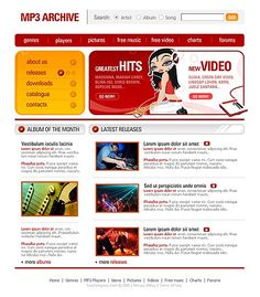 Music MP3 Website Templates by Lovely