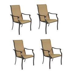 textured brown sling seat steel patio dining chairs without cushions