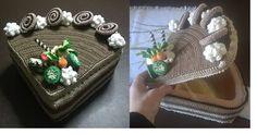 scatola porta cioccolatini, Fetta di Torta al cioccolato con girelle e ciuffi di…