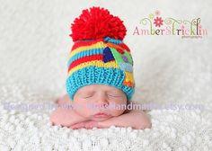 Pom Pom ROCKETSHIP Beanie Newborn SizeFor by NinisHandmades fcf719366565