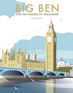 East Urban Home A stunning design of Big Ben and The Houses of Parliament, London by talented artist, Dave Thompson. Thompson's art revisits a classic era of poster design, taking many elements of popular travel art, while remaining current and vibrant. Posters Uk, Railway Posters, Poster Prints, Art Prints, Big Ben, Houses Of Parliament London, Old Poster, Tourism Poster, Photo Vintage