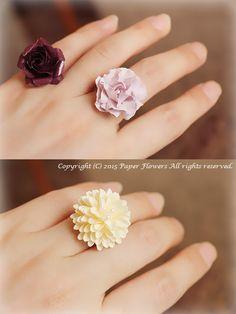 ペーパーフラワージュエリーの指輪