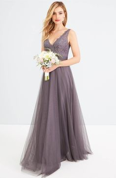 316bc969469c Main Image - Watters Desiree Tulle Dress Bridesmaid Flowers