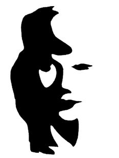 this is a great example showing positive and negative space. the eye can see either a man playing a saxophone or a woman