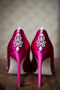 Hot Pink Satin Pumps with Pearls and Rhinestones by Just Love Me - love color on the wedding shoes High Heels Boots, Shoe Boots, Shoes Heels, Zapatos Shoes, Bling Shoes, Pretty Shoes, Beautiful Shoes, Gorgeous Heels, Awesome Shoes