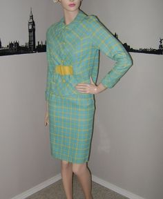 FAB Vintage 60's Turquoise Checked SUIT Skirt Jacket Yellow Aqua Blue Check Outfit Mad Men Mid Century 1960's 2 Piece Checkered Suit