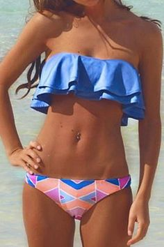 Strapless Flouncing Two-Piece Swimsuit