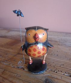 gourd and paper mache owl by Lisa Meehan