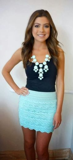 Mint Lace Shorts Top Bib Necklace