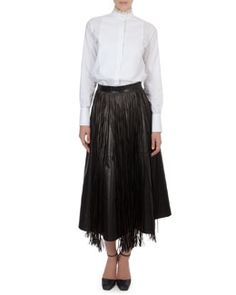-597J Valentino Organza-Collar Cotton Blouse, Long Leather Flare Skirt & Fringe Leather Overlay