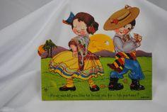 vtg 1920s valentine card Katz USA standup cardboard mechanical girl boy dancers