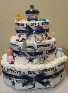 Dallas Cowboy Diaper Cake via Yvearlcom Sarah Chintomby Beth