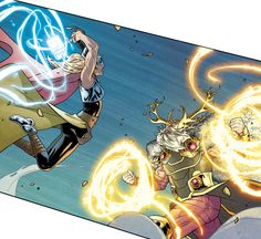 """""TODAY MY HAMMER COMES FOR YOUR FACE!"" Thor vs. Odin in The Mighty Thor #5 - Russell Dauterman"