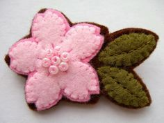 Pink Cherry Blossom felt flower brooch by lupin on Etsy, £10.00