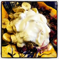Breakfast of champions....steel cut oatmeal, coconut oil, blueberries, banana, hemp seeds and non fat yogurt.