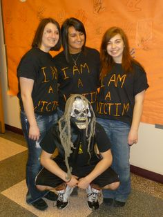 "Triton HS's ""Bullycide Ghost Out."" The ""grim reaper"" pulls 3 students out of class. Their shirts say, ""I am a Victim"" and have info of a real ""bullycide"" victim on the back. They could only speak to teachers. Members held an ""assembly"" like a memorial service for the 3 victims. They also had a potential victim up there that was playing herself, a THS student. When they started to read her ""obituary"" members made statements like ""not anymore, not here. etc."" They made a ""Good Graffiti"" board…"