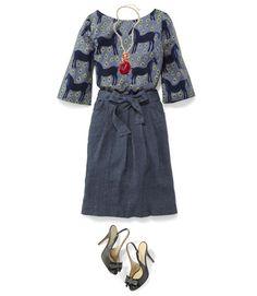 Marimekko Top, Boden Skirt, Shop the Look Becklace, and Kate Spade Pumps