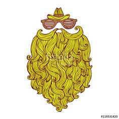 Vector: Hand drawn of long beard and mustache with curly flow. Vector illustration graffiti perfect funny doodle stylized.
