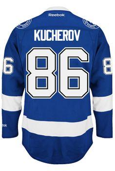 Tampa Bay Lightning Nikita KUCHEROV #86 Official Home Reebok Premier Replica NHL Hockey Jersey (HAND SEWN CUSTOMIZATION)