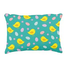 #Cute #Easter #pattern with chickens, eggs, flowers Accent #Pillow #home