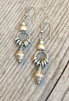 Silver drop earrings, ethnic earrings, tribal jewelry, silver jewelry