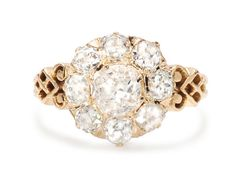 In Bloom: Victorian Diamond Cluster Ring from The Three Graces at rubylane.com