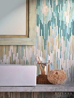 Loom jewel glass mosaic in Turquoise, Tanzanite, Aquamarine, Quartz and Agate | New Ravenna