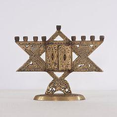 Hanukkah Menorah Vintage Brass Menorah Judaica by CozyTraditions, $67.00