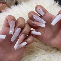 Light Pink Acrylic Nails, Long Square Acrylic Nails, French Manicure Acrylic Nails, Bright Pink Nails, Baby Pink Nails, Cute Pink Nails, Fall Acrylic Nails, Green Nails, Purple Nails