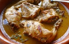 Rabbit in Wine Marinade. Tender farm-raised rabbit in a herb-inflected wine marinade is cooked in a Spanish cazuela. Rabbit Dishes, Rabbit Food, Tarragon Sauce Recipes, Saffron Recipes, Tomato Tortellini Soup, Easter Dinner Recipes, Wild Game Recipes, Hunting Season, Venison