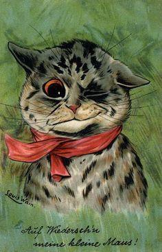 """Victorian postcard by Louis Wain """"Auf Wiedersehen Meine Kleine Maus! Kittens Cutest, Cats And Kittens, Louis Wain Cats, Cattery, Vintage Cat, Cat Drawing, Christmas Cats, Belle Epoque, Poster"""