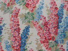 Gorgeous vintage floral barkcloth fabric with delphiniums - two pieces | eBay