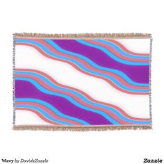 Wavy Throw Blanket  Available on many more designs! Type in the name of this design in the search bar on my Zazzle Products page!  #wavy #wave #home #decor #bed #bath #decorate #bathroom #bedroom #buy #sale #zazzle #forsale #line #purple #red #blue #abstract #abstraction #stripes #ripple #cool #chic #contemporary #modern #style #life #style #college #dorm #apartment #throw #blanket #couch #throw