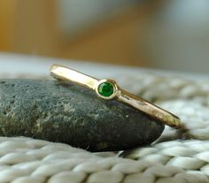 Green Tsavorite Garnet 14k Gold Ring Simple by DalkullanJewelry, $150.00