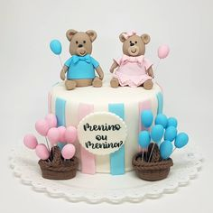 Gender Reveal Balloons, Gender Reveal Party Decorations, Baby Gender Reveal Party, Bolo Super Mario, Twin Birthday Cakes, Twins Cake, Teddy Bear Cakes, Balloon Cake, Fondant Cake Toppers