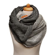black and white knit scarf