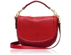 Mulberry - Small Effie Satchel in Bright Red Spongy Pebbled