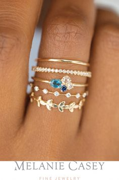 Pairing Ring Petite Many Moons Band Navy Mini Cluster Ring Petite Diamond Distance Band Vine Band All in yellow gold with white diamonds London blue topaz and blue sa. Hand Jewelry, Cute Jewelry, Bridal Jewelry, Jewelry Accessories, Jewelry Design, Cute Rings, Pretty Rings, Beautiful Rings, Tiny Rings