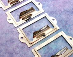 Set of 5 Bright Nickle Silver Finish Label Holders with Drawer Pull Handle,  Card Holders, Metal Label Frame