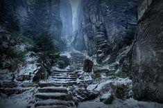 Prachov Rocks, Czech Republic. (Path to High Hrothgar in real life)