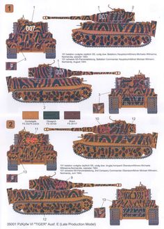 Color graphics displaying the two Tiger 1 tanks operating by tank ace Michael Whitmann