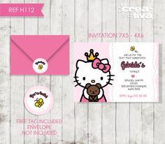 Hello Kitty Birthday Invitation Hello Kitty por CreativaDesignCo