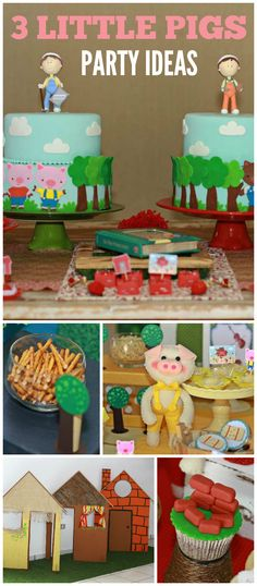 A Three Little Pigs boy birthday party with fun cupcakes and decorations from the story! See more party planning ideas at CatchMyParty.com!